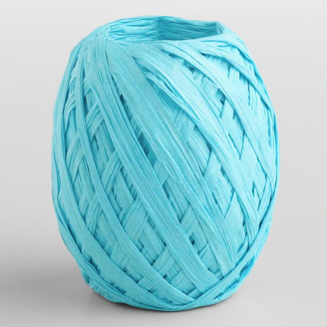 Turquoise Paper Raffia Eggs, Set of 2