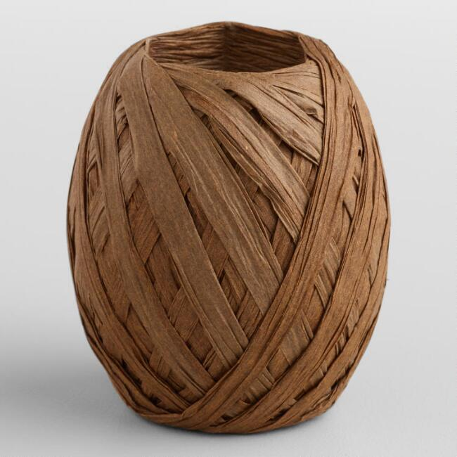 Brown Paper Raffia Eggs, Set of 2
