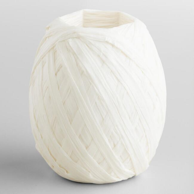 White Paper Raffia Eggs, Set of 2