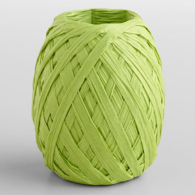 Lime Paper Raffia Eggs, Set of 2