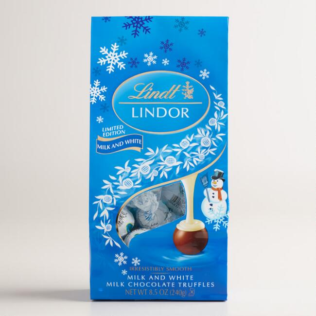 Lindt Holiday Milk and White Chocolate Bag