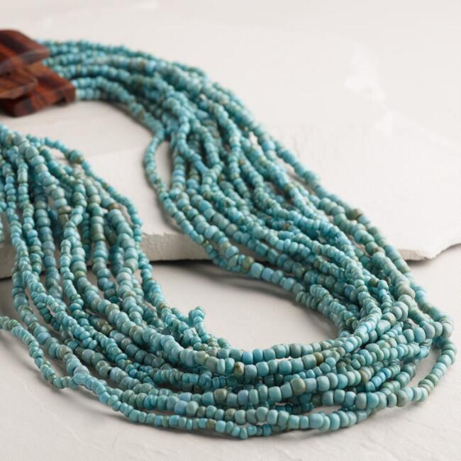 Turquoise Bead Necklace with Wood Clasp