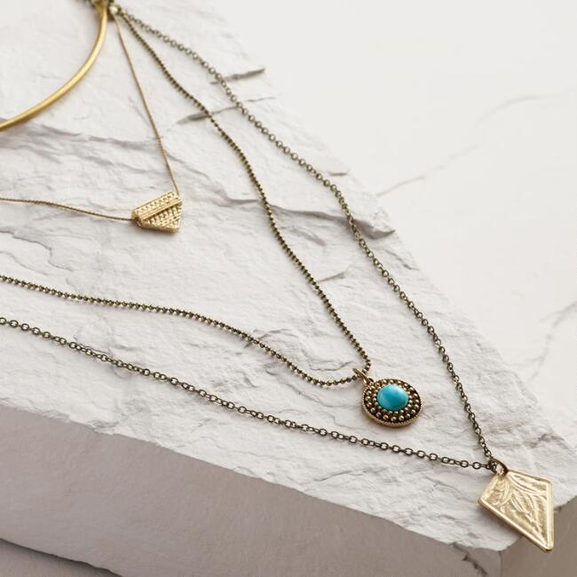 Gold Collar 3-Layer Pendant Necklace
