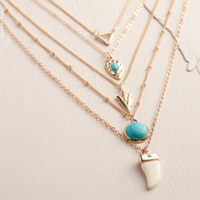 Gold Multi-Layer Horn and Arrow Necklace
