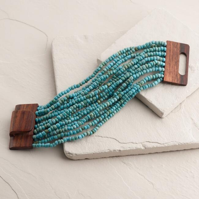 Turquoise Beads and Wood Bracelet