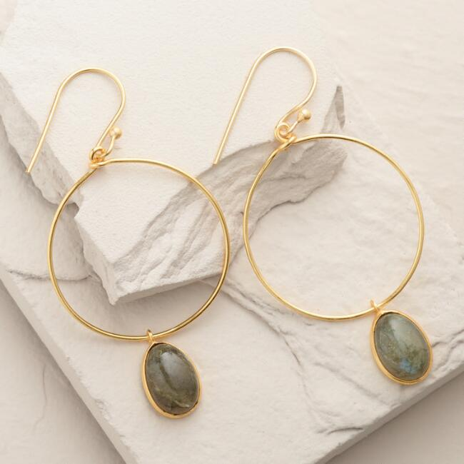 Gold Labradorite Drop Hoop Dangle Earrings