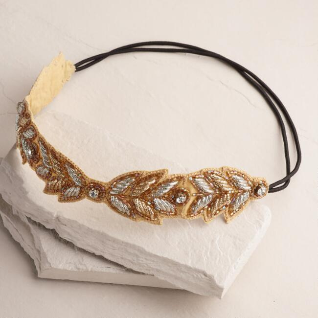Gold and Silver Leaves Rhinestone Headband