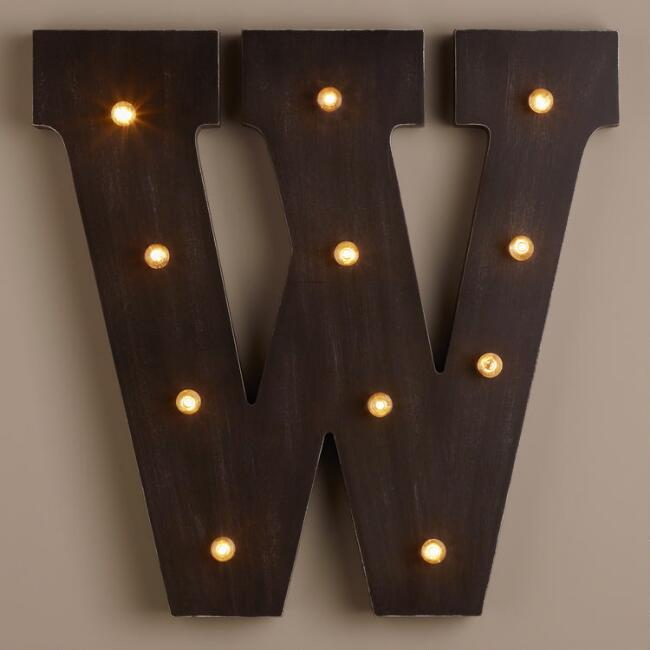Letter W LED Battery Operated Marquee Light