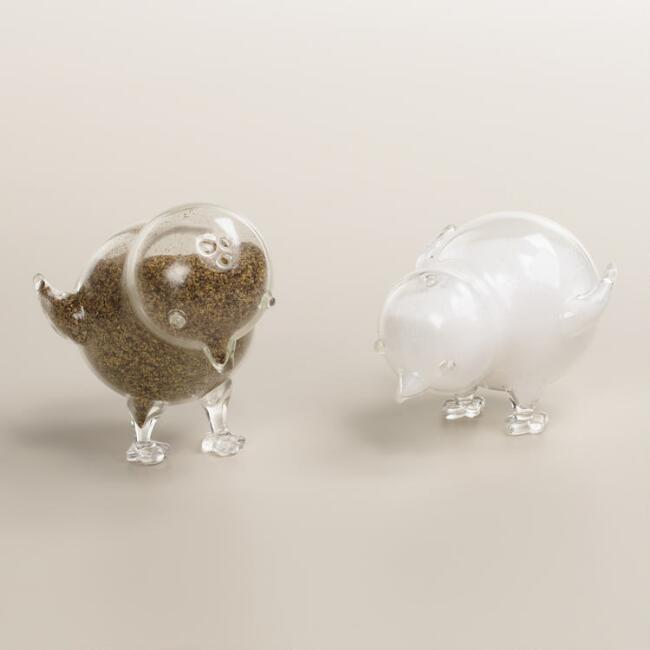 Glass Chicken Salt and Pepper Shaker Set