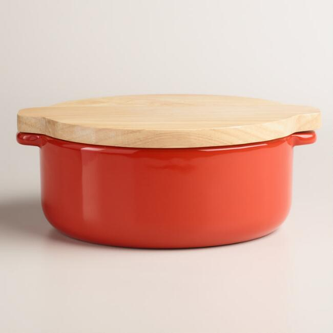 Small Red Baker with Oak Wood Trivet Lid