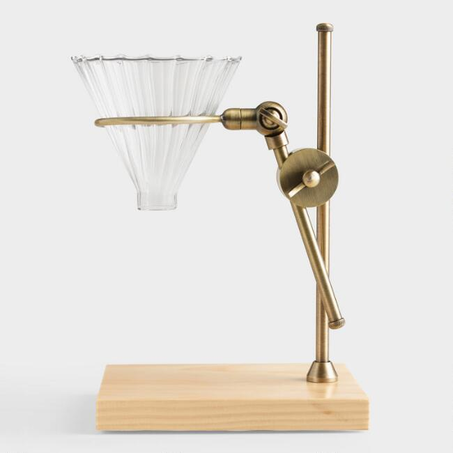 Brass Pour Over Coffee Dripper Stand With Wood Base