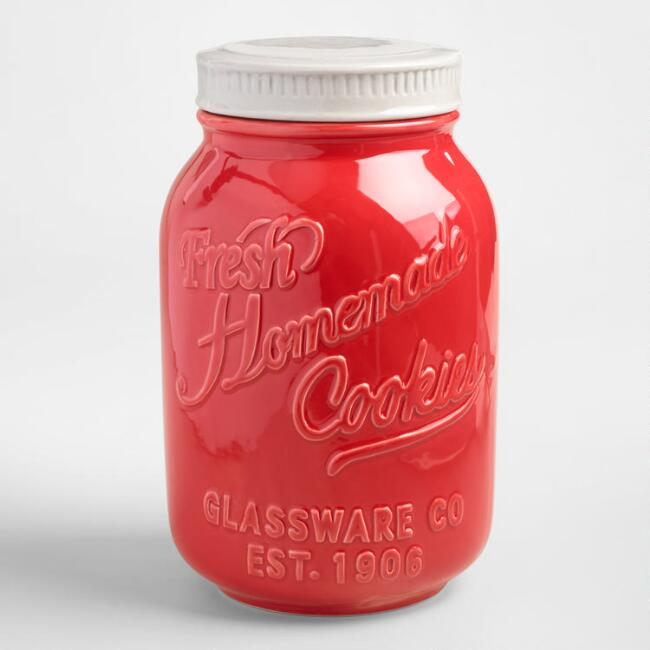 Red Ceramic Mason Cookie Jar