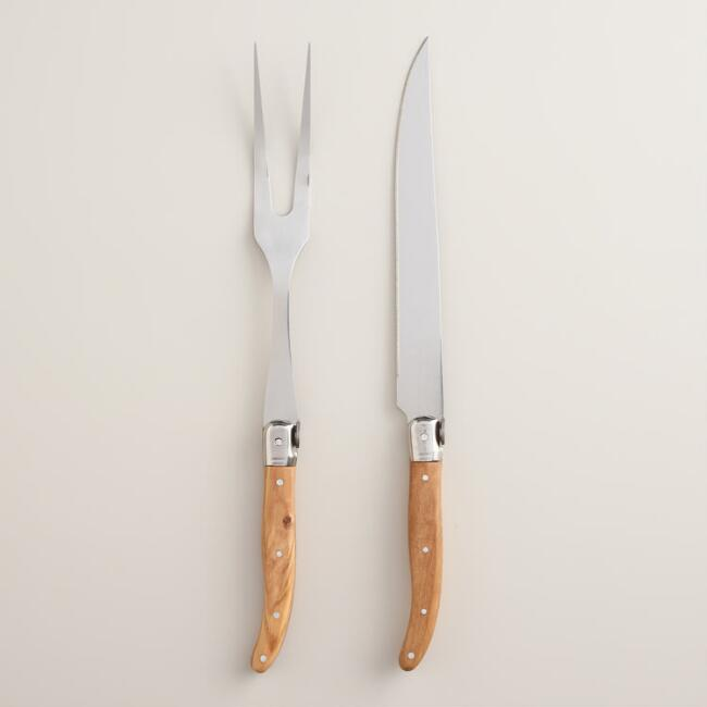 Carving Utensil Set with Olive Wood Handles, 2-Piece
