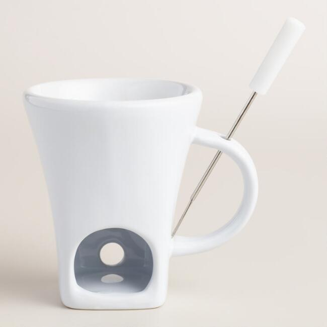 White Ceramic Fondue Cup with Fork