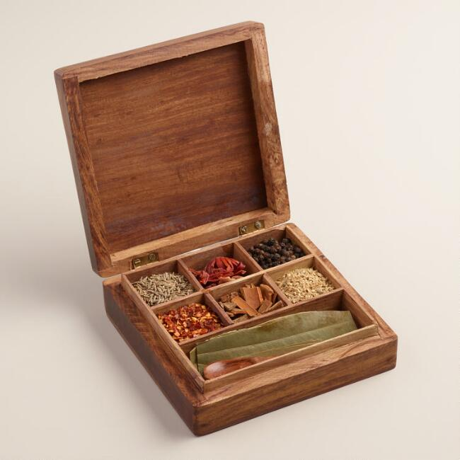 Carved Wood Moroccan Spice Gift Box Set, 7 Piece