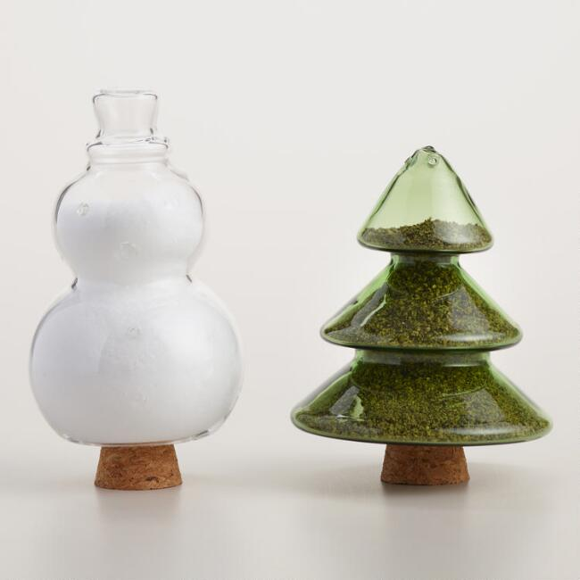 Glass Tree and Snowman Salt and Pepper Shaker Set