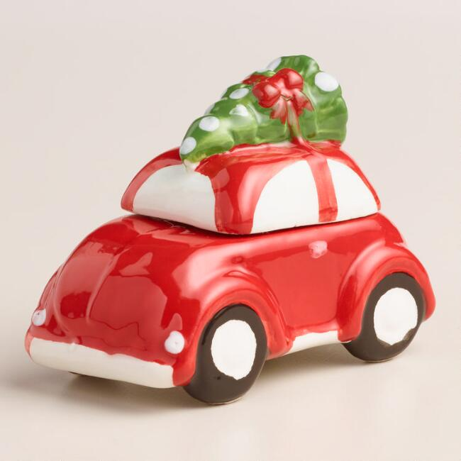 Vintage Style Car with Tree Salt and Pepper Shaker Set