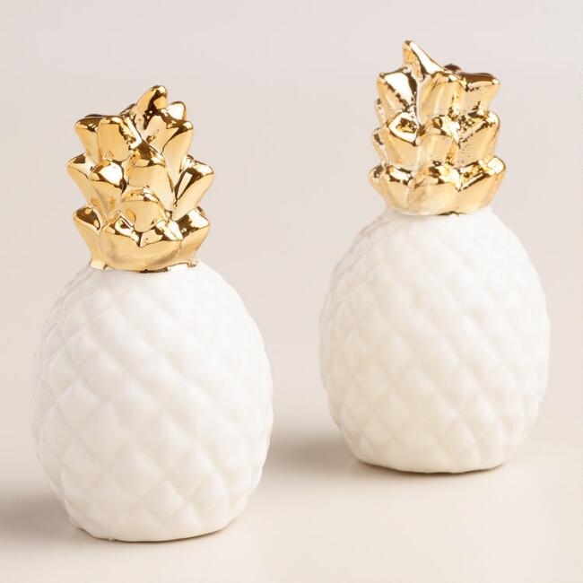 Gold Pineapple Salt and Pepper Shaker Set