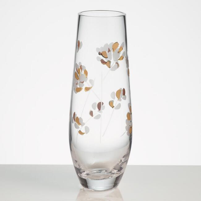 Etched Branches Stemless Champagne Flutes Set of 4