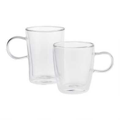 Double Wall Glass Mugs, Set of 4