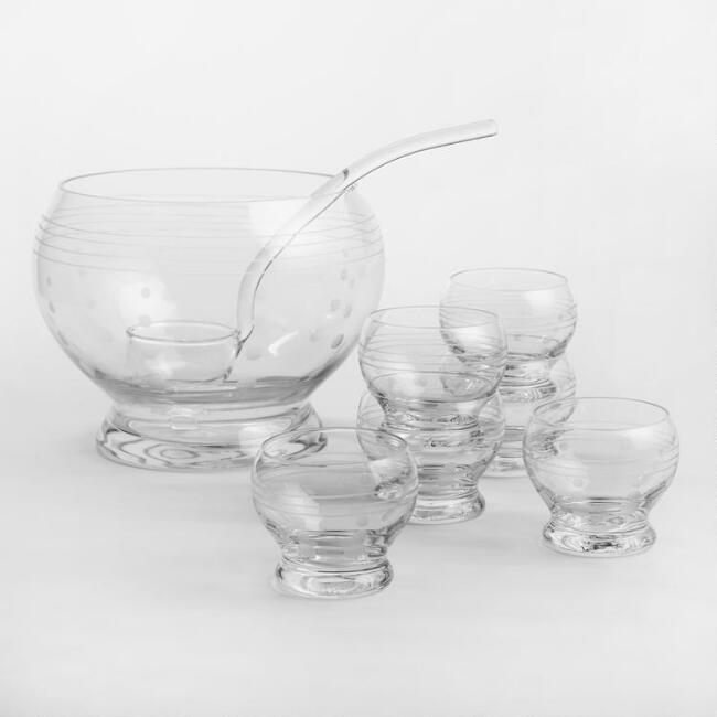 Etched Glass Punch Bowl Set, 8-Piece