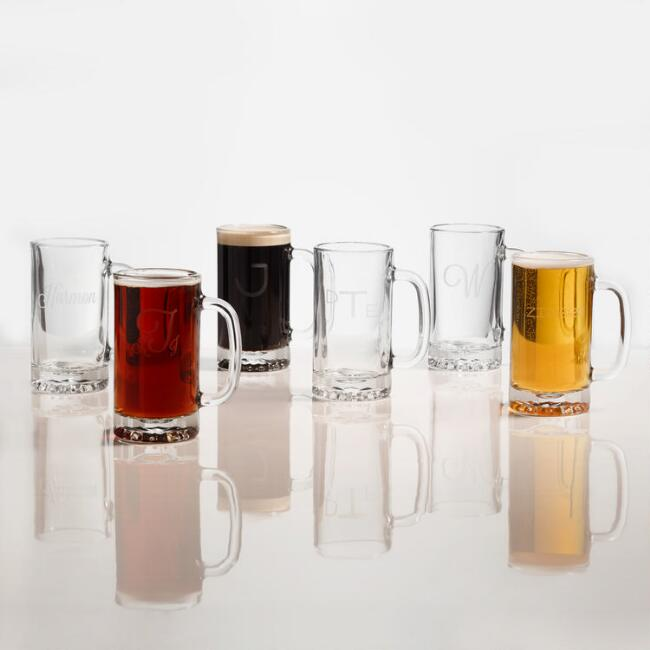 Personalized Glass Beer Mugs, Set of 4