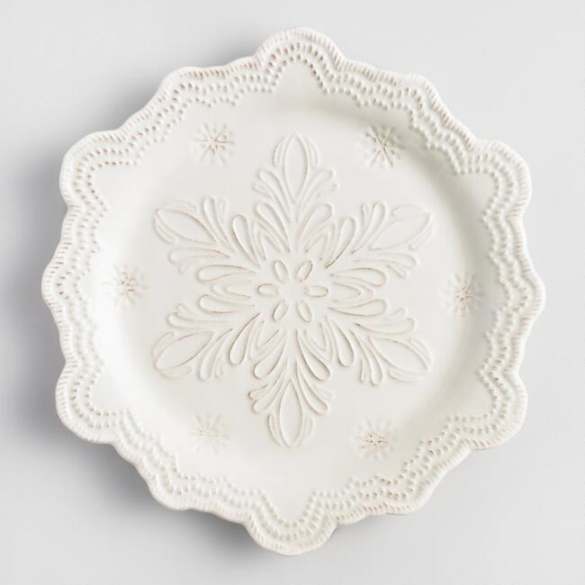 Embossed Snowflake Dinner Plate Set of 4