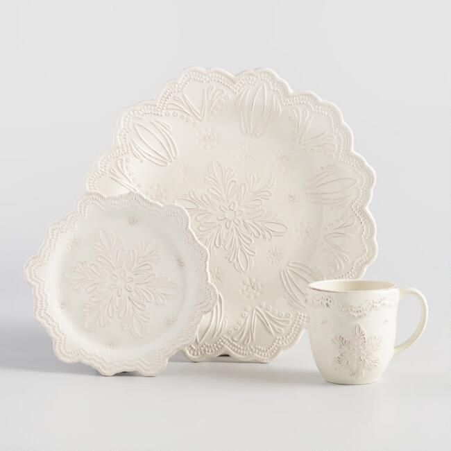 Embossed Snowflake Dinnerware Collection
