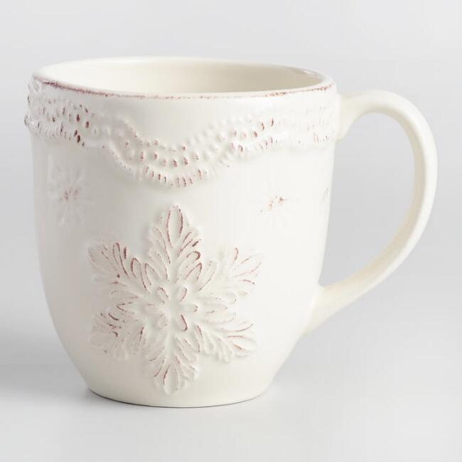 Embossed Snowflake Mugs Set of 4