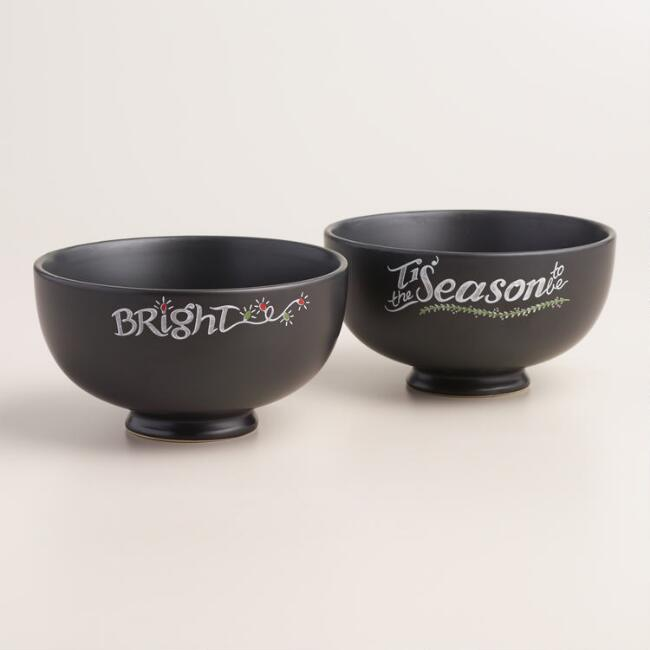 Holiday Chalk Script Bowls, Set of 4