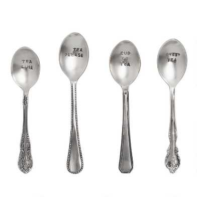 Hand Stamped Teaspoons Set Of 4