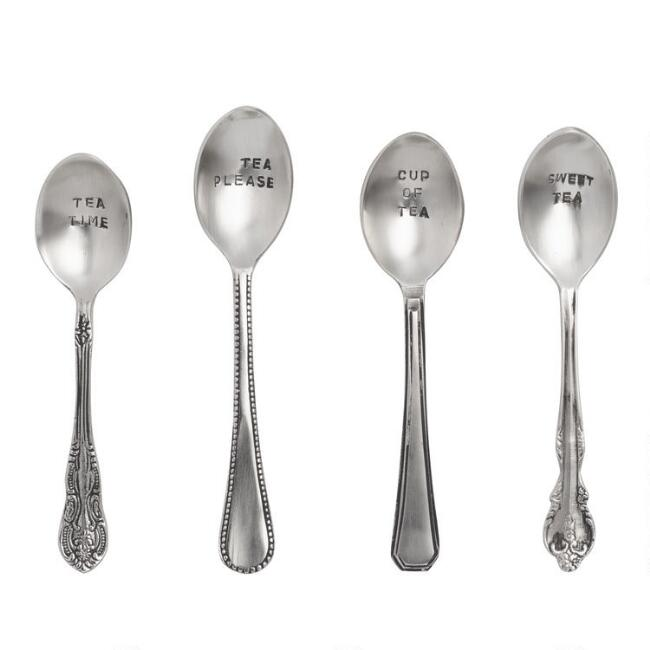 Hand Stamped Teaspoons, Set of 4