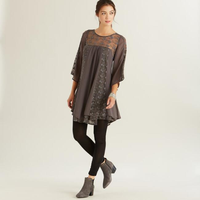 Gray Lace Emme Dress
