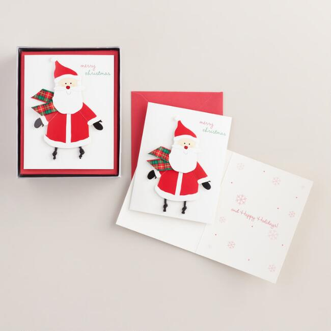 Santa  Claus with Scarf Boxed Holiday Cards, Set of 15
