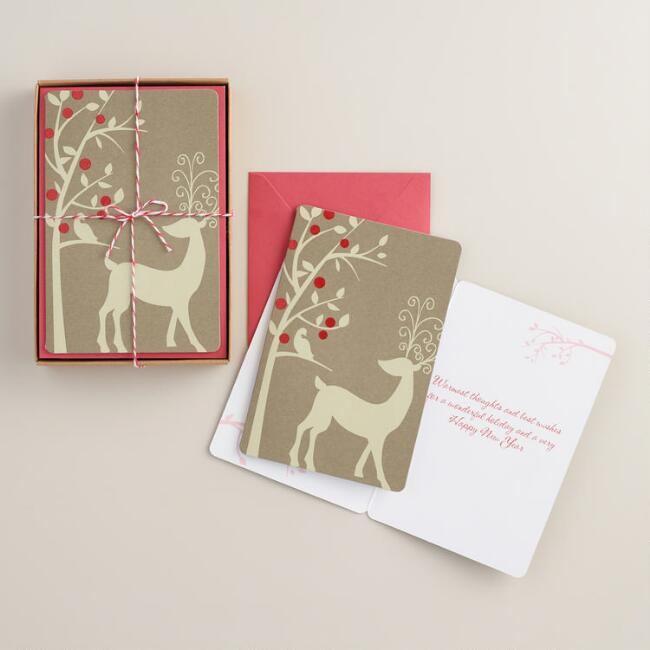 Kraft Reindeer Boxed Holiday  Cards, Set of 15