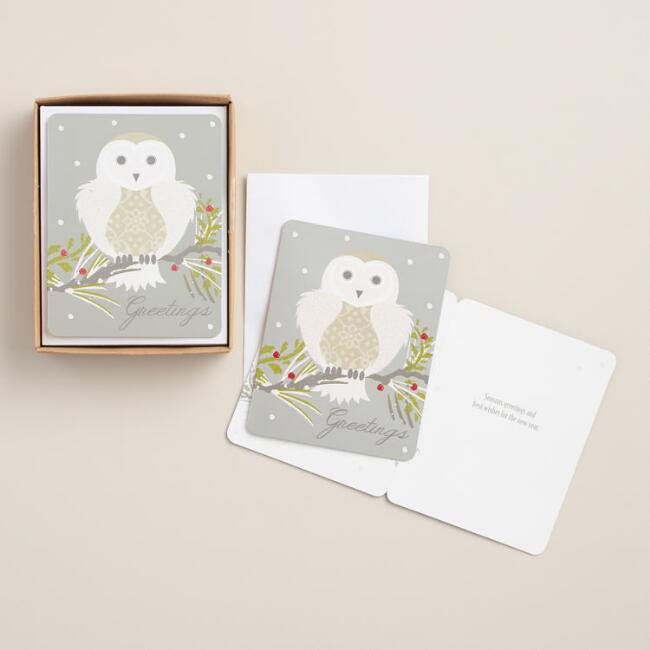 Frosty Morning Owl Boxed Holiday Cards, Set of 15
