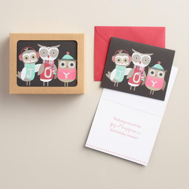 Three Owls Joy Boxed Holiday Cards, Set of 15