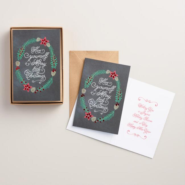 Chalk Wreath Boxed Holiday Cards, Set of 15