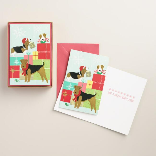 Dogs with Presents Boxed Holiday Cards, Set of 15