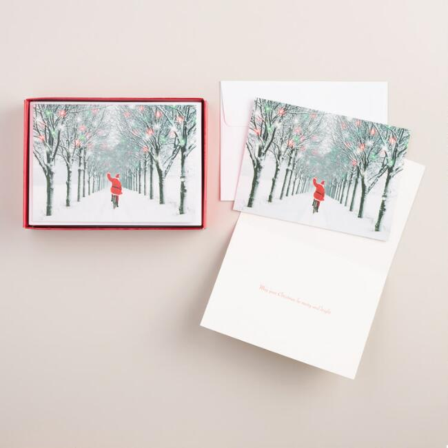 Santa on a Bike Boxed Holiday Cards, Set of 15