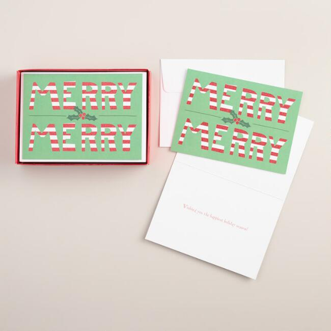 Merry Merry Boxed Holiday Cards, Set of 15