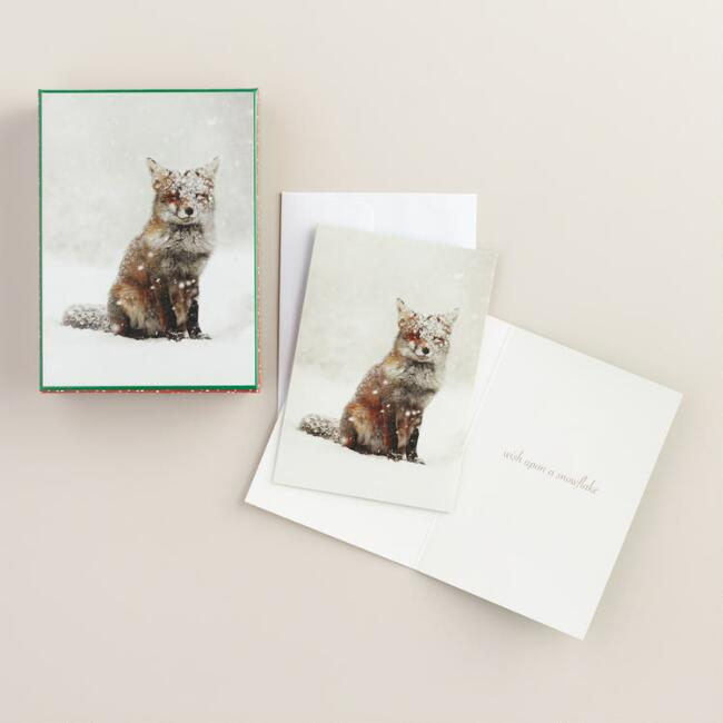 Snow Fox Greeting Cards, Set of 20