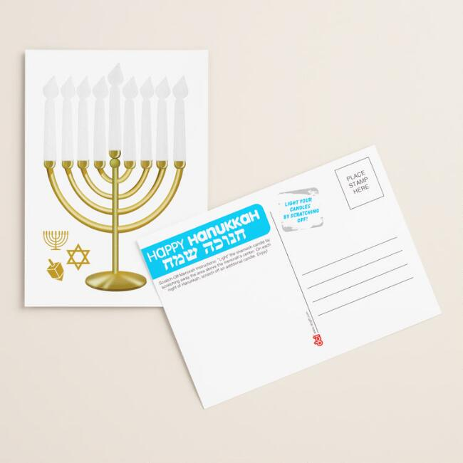 Scratch Off Menorah Postcards