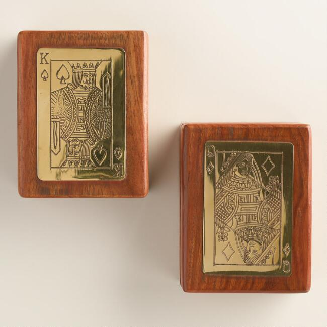 Wood and Brass Playing Card Boxes, Set of 2