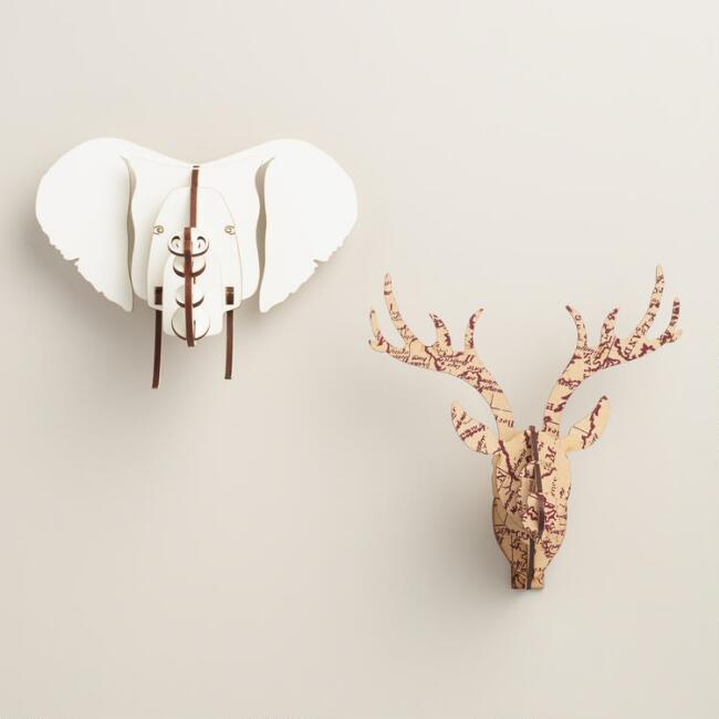 Small Stag and Elephant Wall Bust Kits, Set of 2