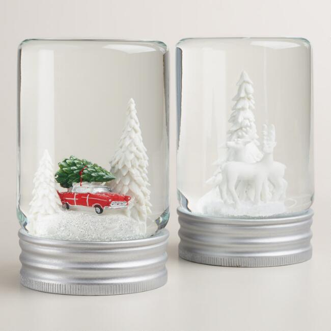 Jar Snow Globes, Set of 2