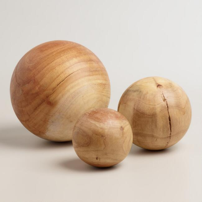 Wood Sphere Decor