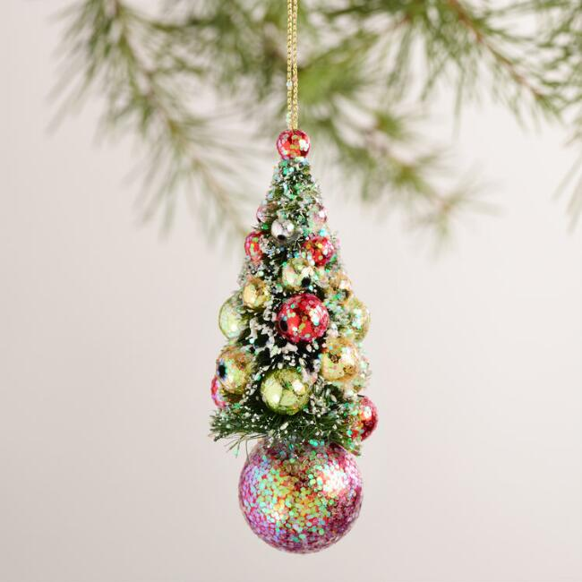 Bottlebrush Tree Ornaments, Set of 3