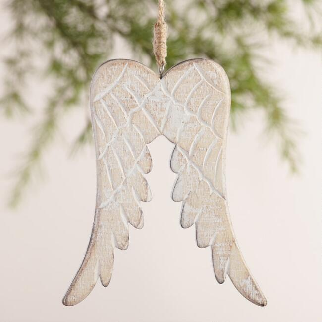 Wood Wing Ornaments, Set of 2