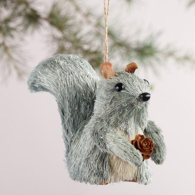 Natural Fiber Squirrel Ornaments, Set of 2